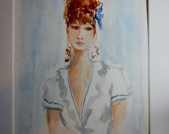 Watercolor portrait, original watercolor,