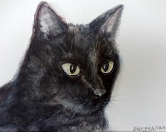 Black Cat painting, original watercolor, original cat painting