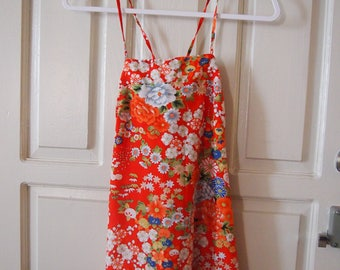 Vintage Bright red Hawaiian floral print maxi dress
