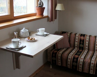 Wall folding table in solid oak - Folding wall table - Wall mounted drop leaf table - Dining table - Space saving furniture - Fold down desk