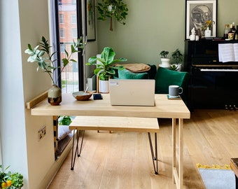 Murphy desk - Drop leaf table - Dining table - Drop down desk - Collapsible workstation - Space saving table - Fold-out desk