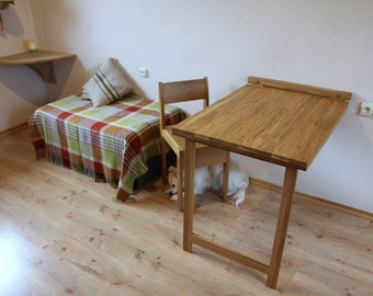 Drop down desk Wall mounted folding table in solid oak Murphy table Dining table Space saving furniture
