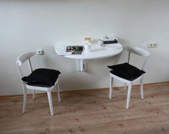 White wall mounted wooden table Folding desk Oak wood desk Kitchen table Space saving table Scandinavian style