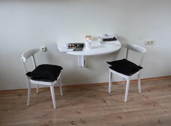 White Wall Mounted Drop Leaf Table Fold Down Desk Wall