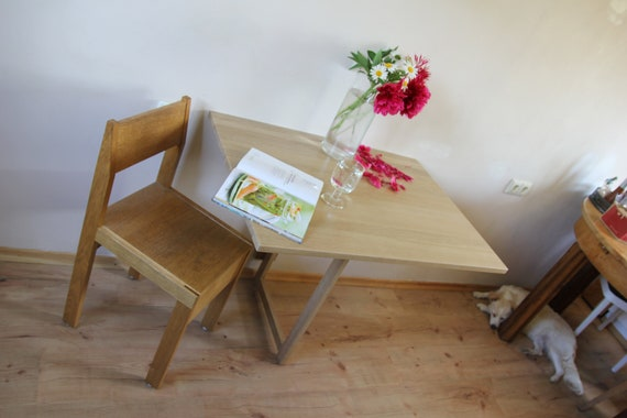 Wall folding table in solid oak Wall mounted drop leaf table Dining table  Space saving furniture Fold down desk