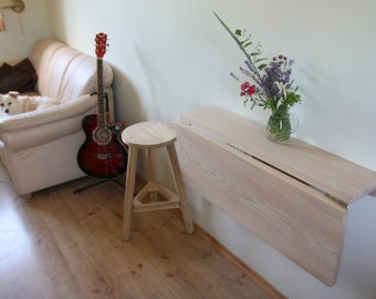 Floating table - Primitive Small space saving table - Wooden wall mounted table - Rustic drop leaf table -Fold down desk Live edge