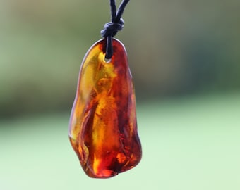 Green Amber Amulet Pendant Tumble Stone Amulet Necklace on adjustable cord Amber Jewelry Protection Amulet For Men or Women