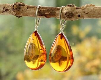 d4237dee1 Beautiful Teardrop Amber Earrings/Amber Drop Earrings/Baltic Gemstone  Earrings/Natural Baltic Amber jewelry/Amber Tear Drop Earrings