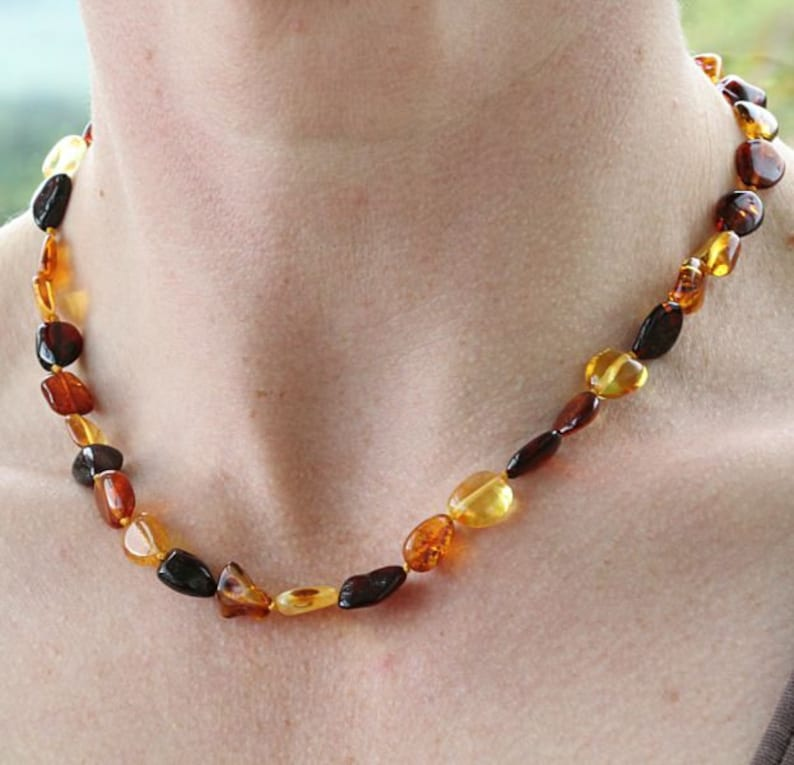 Natural amber jewelry Amber NecklaceGenuine Baltic Amber Adult NecklaceJewelry for Women Beaded Baltic amber Necklace adult