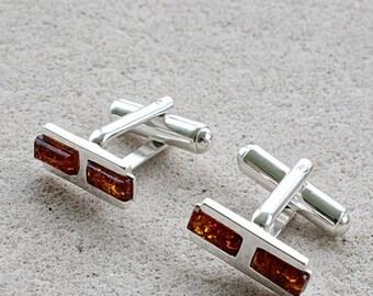 Amber Cufflinks \ Gift for Men \Honey Silver Baltic Amber Cufflinks / Amber for men