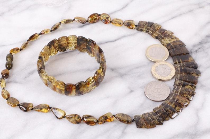 Xmas Gift Set for Mum Egyptian Style Amber Necklace and Bracelet Eco Necklace SetGreen Amber NecklaceJeweleryCleopatra Necklace Set