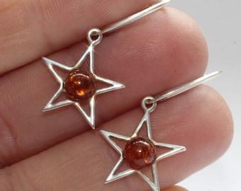 Silver Star Earrings / Amber Gem Earrings/ Baltic Amber Earrings /  Star Earrings, Sterling Silver / Affordable Post / Celestial Gift