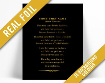 f083c5f1e01e First They Came Poem Gold Foil Art Print - Martin Niemöller Holocaust  Poetry - Political Racism Civil Human Rights - Immigration Refugee Ban