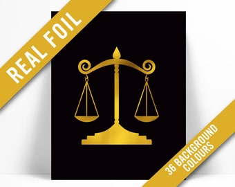 Law Office Decor. Scales Of Justice Gold Foil Art Print   Real Greek  Attorney Gift