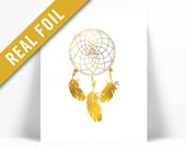 Dreamcatcher Art Print - Gold Foil Print - Dream Catcher Poster - Native American Art Print - Tribal Wall Art - Nursery Art - Inspirational