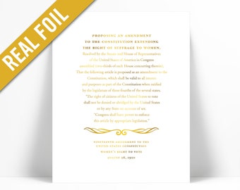 19th Amendment Women's Vote Gold Foil Art Print - American History Constitution Poster - Right to Vote - Equality Feminism Rights - Suffrage