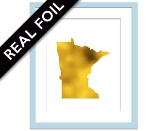 Minnesota Art Print - Gold Foil Print - Minnesota Map Poster - Travel Poster - Minnesota Wall Art - United States Art Print - Gold Map