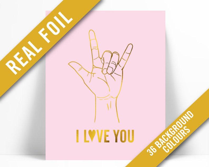 Hand Drawing Wall Art Hand Poster Nursery Art ASL Love Poster American Sign Language I Love You Gold Foil Art Print Heart Wall Art