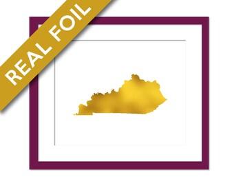 Kentucky Art Print - Gold Foil Print - Kentucky Map Poster - Travel Poster - Kentucky Wall Art - United States Art Print - Gold Kentucky Map