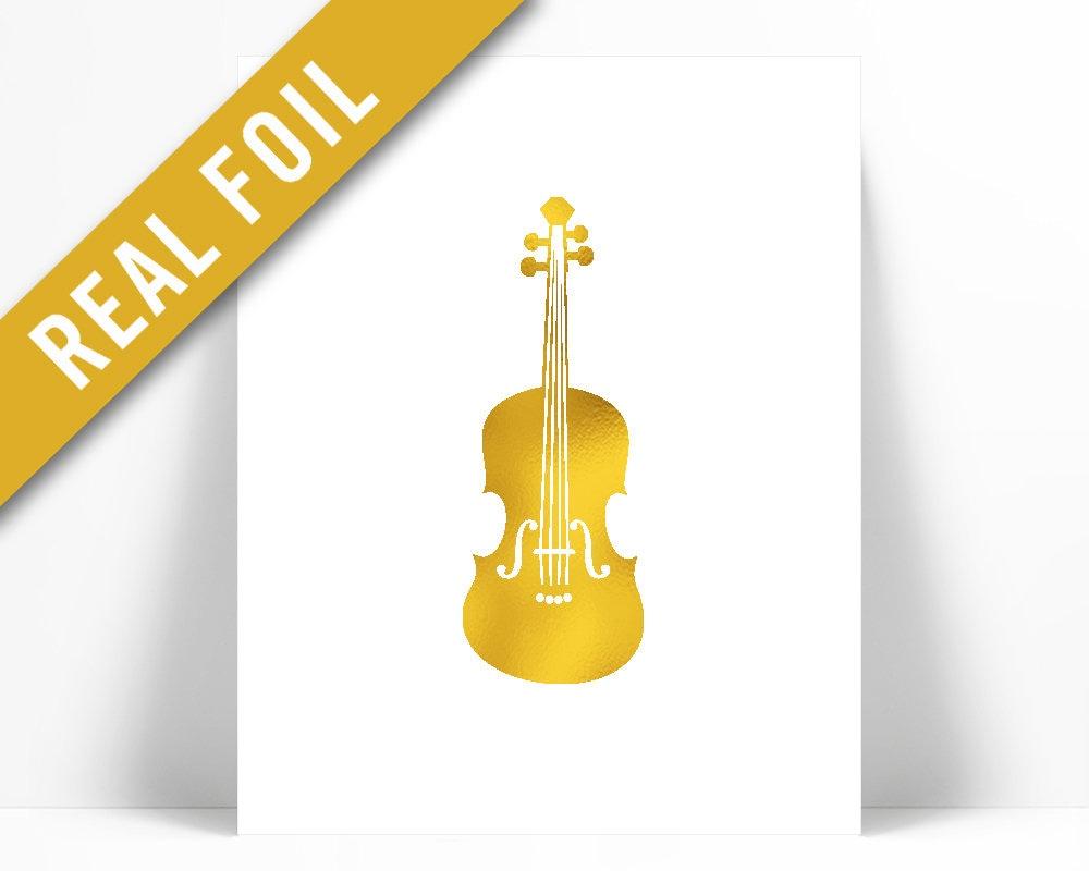 Violin Gold Foil Art Print Gold Foil Print Musical | Etsy