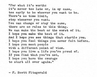 F. Scott Fitzgerald Hand Typed Print 'A Life You Are Proud Of' Vintage Typewriter Letterpress Quote Benjamin Button Inspirational Life Quote