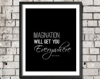 "Albert Einstein Digital Download Printable Art ""Imagination Will Get You Everywhere"" Science Gift Typography Geek Nursery Art Teacher Gift"