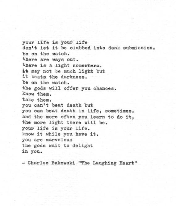 Poema De Charles Bukowski Mecanografiado A Mano El Corazón De La Risa Impresión De Máquina De Escribir Vintage