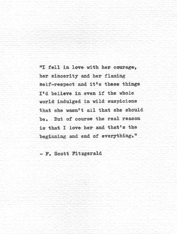 F Scott Fitzgerald Love Quotes New F Scott Fitzgerald Letterpress Quote I Fell In Etsy