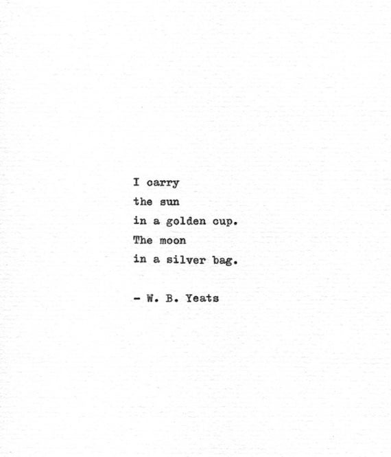 W B Yeats Letterpress Poetry Art Sun And Moon Etsy