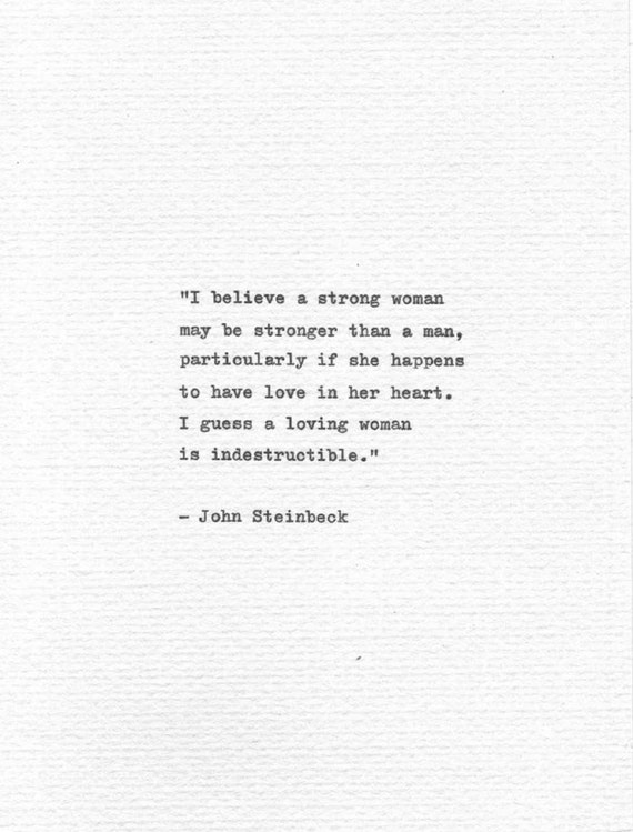 John Steinbeck Quotes Inspiration John Steinbeck Hand Typed Love Quote I Believe A Strong Etsy
