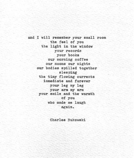 Charles Bukowski Hand Eingegeben Liebe Poesie Roh Mit Liebe Buchdruck Druck Schreibmaschine Romantisches Geschenk Amerikanische Liebe Zitat