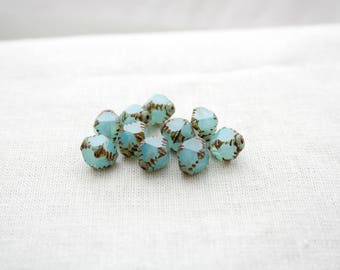 10 Aqua/Blue Pressed Czech glass Bicone Beads