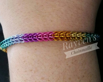 Rainbow Full P Chainmaille Chain Mail Bracelet