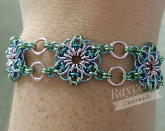 Unicorn Rainbow Pastel Celtic Flower Chainmaille Bracelet Chain mail with flower toggle
