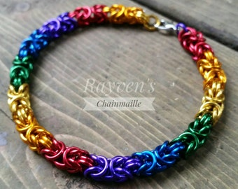 Pride Rainbow Byzantine Chainmaille Chainmail Bracelet