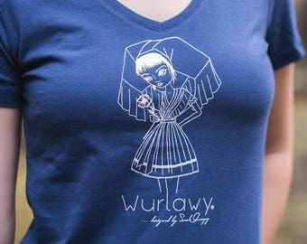 Wurlawy Tshirt, in blue with white screen printing, Spreewälderin with flower