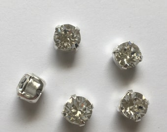 10 x 6mm Gold Plated Pear Teardrop 1 Ring Open Back Rhinestone Prong Settings 5pcs