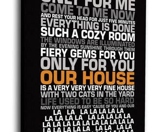 Our House Lyrics Contemporary Word Art on Canvas - Choose Your Accent Color