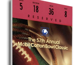 1993 Cotton Bowl Canvas Mega Ticket - Notre Dame Fighting Irish