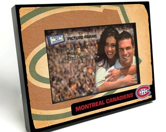 Montreal Canadiens Vintage Style Black Wood Edge 4x6 inch Picture Frame - Officially Licensed by the NHL