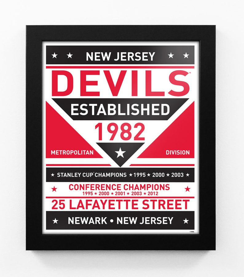 new product e073f fe1e8 New Jersey Devils Dual Tone Team Sign Print Framed