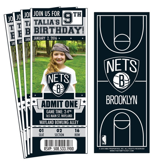 12 Brooklyn Nets Custom Birthday Party Ticket Invitations