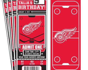 12 Detroit Red Wings Custom Birthday Party Ticket Invitations - Officially Licensed by NHL