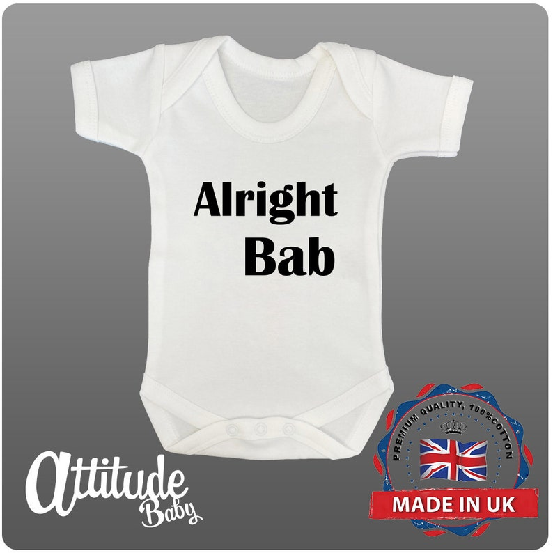 Birmingham Baby Grows-Brummie-Alright Bab Baby Grows-Baby Grow-Funny Printed Baby Grows-Xmas Baby Gift-Baby Clothes-Baby Christmas Gift
