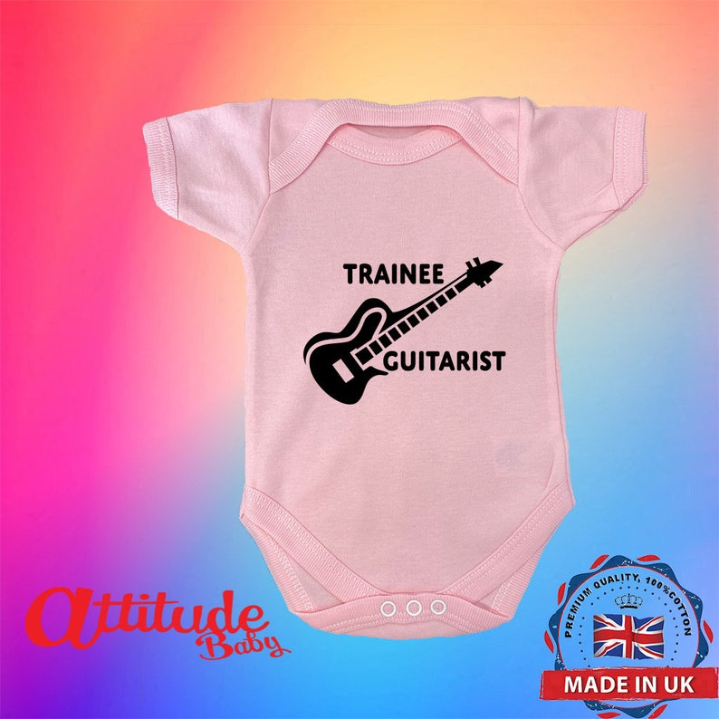 Funny Baby Grows-Printed-Trainee Guitarist-Baby Grows-Baby Grows-Baby Shower Gift-Premature Baby Grow-Newborn