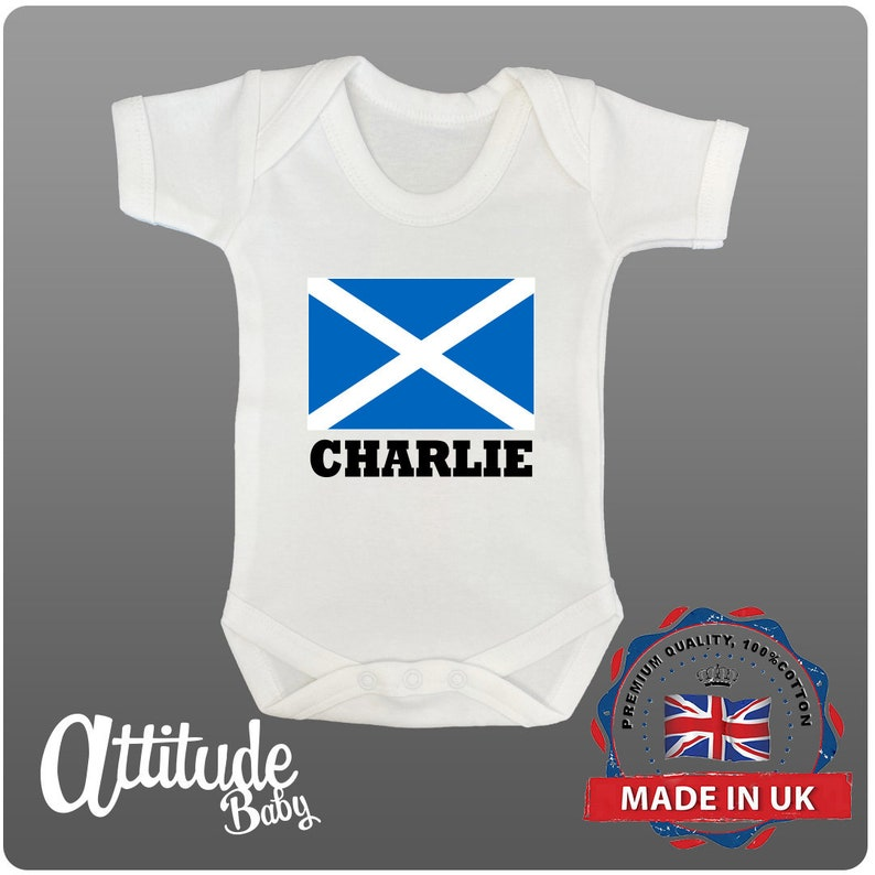 Scotland Babygrow-PERSONALISED-Scotland  Flag With Baby Name Funny Baby Grows-Baby Grows-Premature Baby Clothes-Scotland Baby Grow