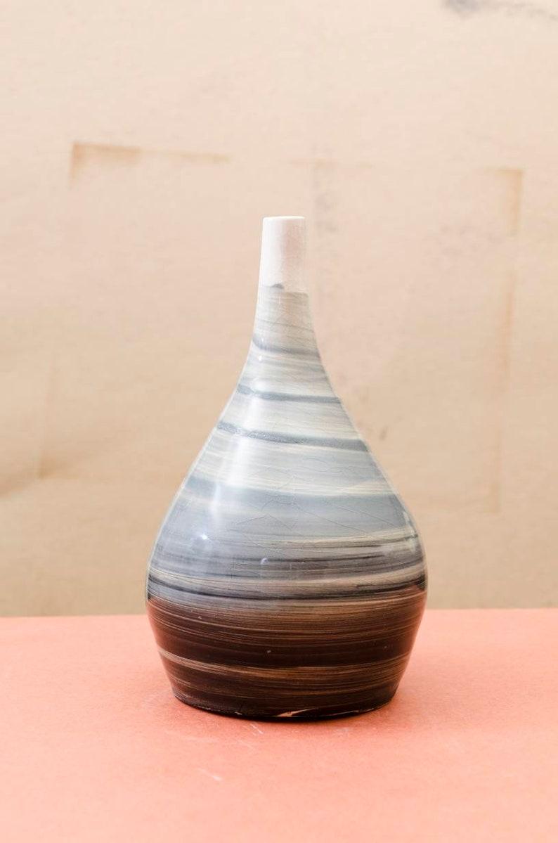Black and White Swirled Decorative Vase