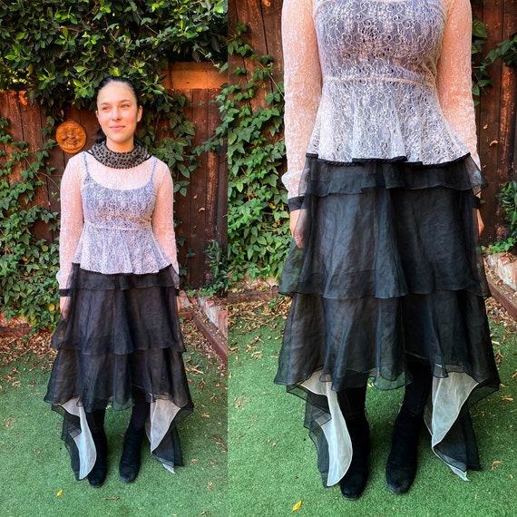 Vintage Black Draped Tiered bustle Skirt. ** Victo
