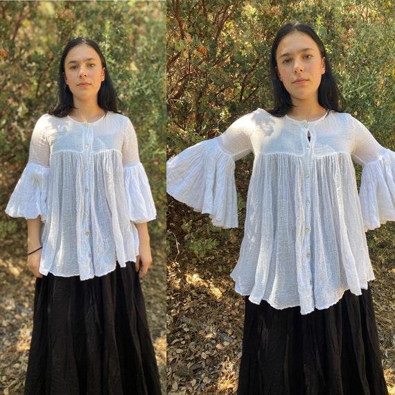 Vintage White Cotton Gauze Flared Sleeve Tunic Top