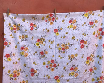 Vintage 1960s Mid Century Colorful Floral Polka Dot Flat Sheet. Home Travel Trailer Decor. Vintage Bed Sheet Orange Yellow Gold  FULL DOUBLE